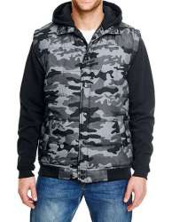 Hooded Fleece Sleeved Puffer Vest M Black Camo Black